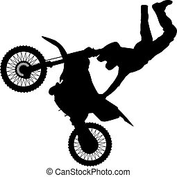 Motocross - an abstract silhouette of a motocross rider