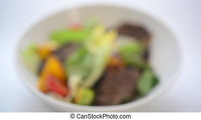 salad from meat with vegetables - salad of juicy tasty meat...