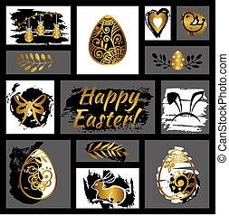 Easter greeting card Happy Easter Easter egg Vector...
