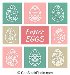 Set of cute Easter eggs Happy Easter Easter elements Vector...