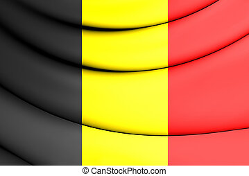 Flag of Belgium - 3D Flag of the Belgium. Close Up.