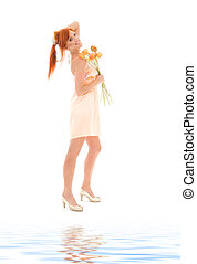 redhead with flowers