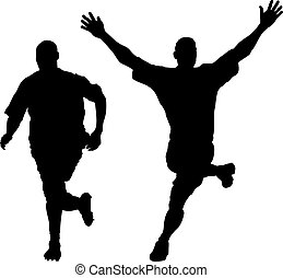 Runner - an abstract silhouette of two runners of a marathon