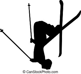 Ski Jumper - an abstract silhouette of a ski jumper