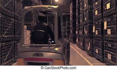 Bordeaux Saint Emilion bottling uni - handling wine bottles...