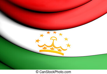 Flag of Tajikistan - 3D Flag of the Tajikistan Close Up