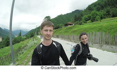 Couple photographing yourself - Camera on steadicam Couple...