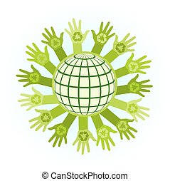 abstract illustration with raising hands and planet with a recycle symbol. eco friendly design template. care of environment of planet  concept