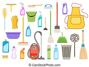 Set of cleaning supplies Tools of housecleaning on white...