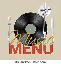 Music menu with vinyl, knife ,fork background concept. Vector