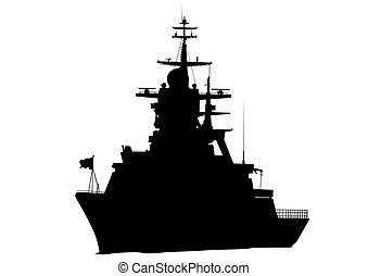 Military ship - Silhouette of a large warship on a white...