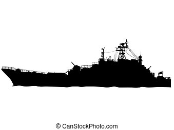 War ship - Silhouette of a large warship on a white...