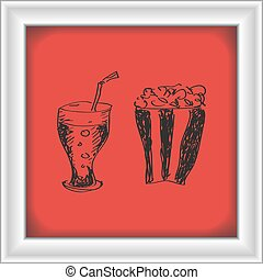 Simple doodle of a drink and popcon - Simple hand drawn...