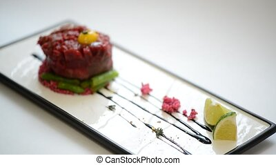 Beef tartare with lime and groats quinoa - fresh beef Tartar...
