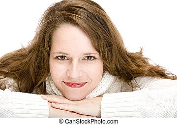 retrato, joven, atractivo, feliz, mujer, pulóver