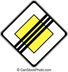 End of Priority Road - a symbol of an important road sign