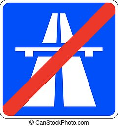 End of the Motorway - a symbol of an important road sign