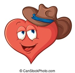 Illustration with simple gradients with the image of cute cartoon heart in a cowboy hat.