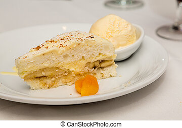 Banana Cream Pie and Ice Cream garnished with apricot
