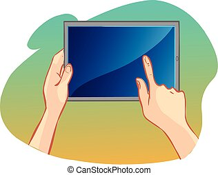 white background vector illustration of a hand holding tablet