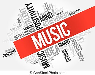 Music word cloud, business concept