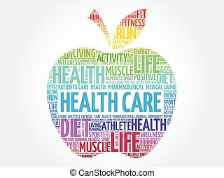 Colorful Health care apple word cloud concept