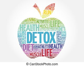 Colorful DETOX apple word cloud concept