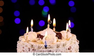 Blowing out the candles of Birthday - Happy Birthday cake...