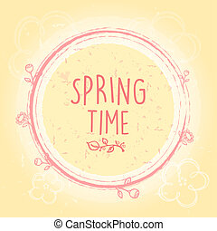 spring time in circle with flowers, old paper background