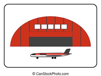Hangar icon with plane in the frame