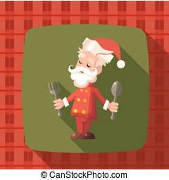 Card with cartoon Santa Claus for Christmas and New Year party
