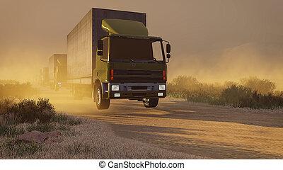 Military trucks on a desert road at dusk - Military trucks...