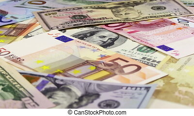 Dollars and Euro Banknotes Rotate - Banknotes of American...