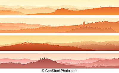 Valley with manors at sunset - Set of horizontal banners of...