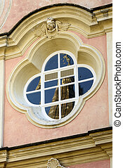 detail of Baroque elliptic window - detail of Baroque...