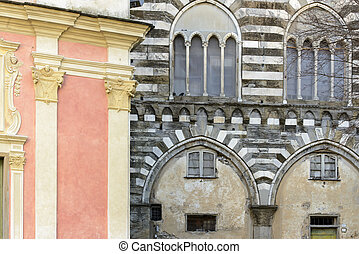 facades Ligurian style, Italy - foreshortening of Medieval...