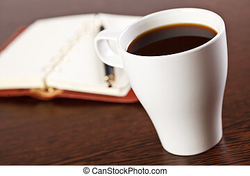 break in office . coffee on table
