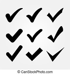 Confirm mark icons on a white background
