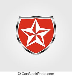 Shield with a star on a gray background