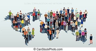 peoples worldmap concept - world with continents and crowd...