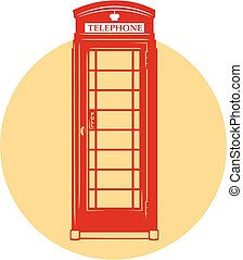 Vector London telephone booth - Vector icon of London red...