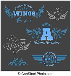 Air Force shields and labels with wings isolated on dark