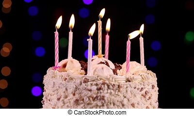 Happy Birthday cake close-up - Happy Birthday cake with...