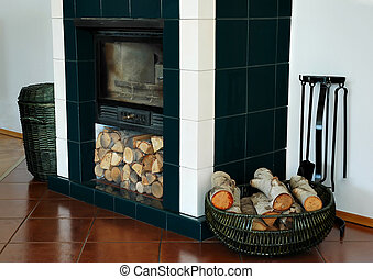 Fire and basket - Trash and wood standing at the fireplace