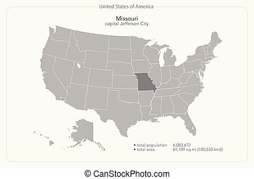 missouri - United States of America isolated map and...