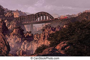 Train And Bridge - Diesel locomotive on a bridge over a...
