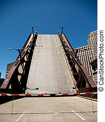 Drawbridge raising in downtown Chicago