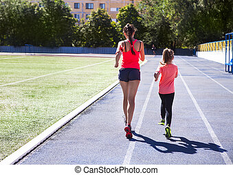 madre, y, poco, hija, ser, hacer, ejercicio, en, el,...