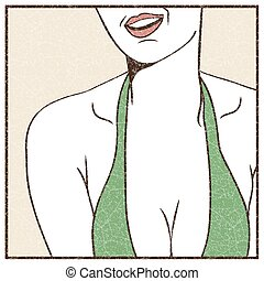 Female sexy breast - Pop Art illustration of female sexy...