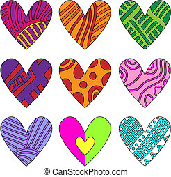 Colorful heart collection
